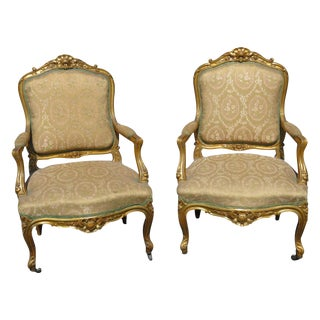 Louis XVI Style Gilt Carved Upholstered Fauteils - A Pair