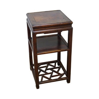 Antique Chinese Hardwood Pedestal Plant Stand