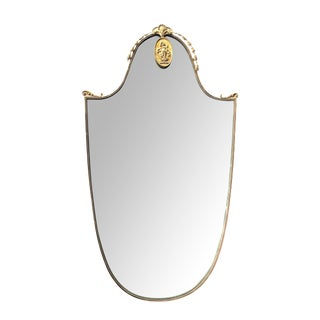 Chic Italian Gilt Bronze Shield-Form Mirror