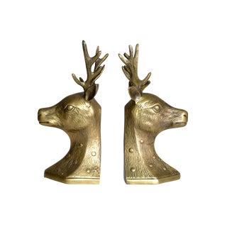 Vintage Deer Head Brass Bookends - A Pair