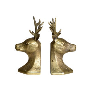Vintage Deer Head Brass Bookends - A Pair