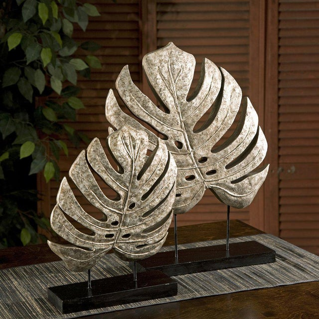 Silver Antiqued Leaves Statues - A Pair - Image 2 of 2