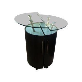 Round Portable Home Bar on Wheels