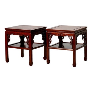 1930s Chinese Carved Side Tables - A Pair