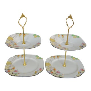 1930s Vintage English Two-Tier Trays - a Pair
