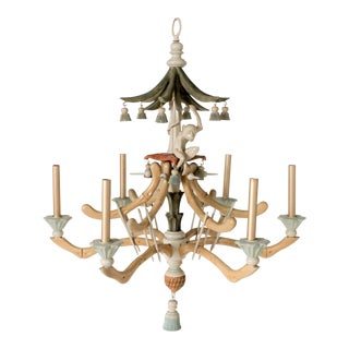 Faux-Bamboo Monkey 6 Arm Chandelier