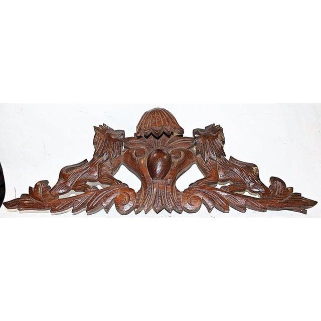 French Antique Oak Lion Cartouche - Image 3 of 8