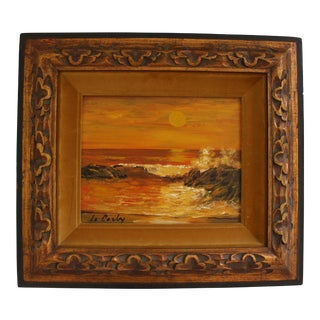 Mid-Century Original Signed Oil on Panel - Seascape signed Le Corby