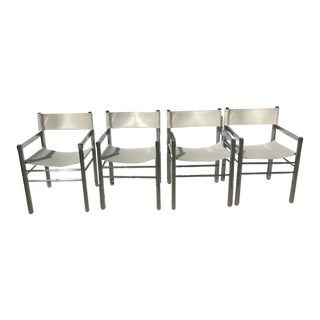 1970's Mid-Century Modern Mod Style Chrome and Pleather Directors Chairs - Set of 4