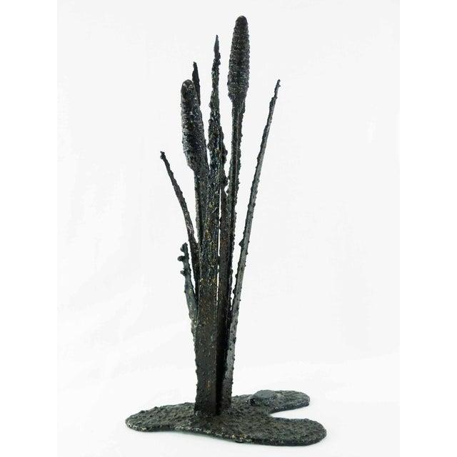 Image of Vintage Brutalist Torch Cut Cattail Sculpture