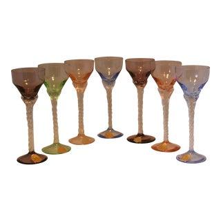 Set of 7 Blefeld Hand Crafted Crystal Multi Color Stemmed Cocktail Cordial Glasses