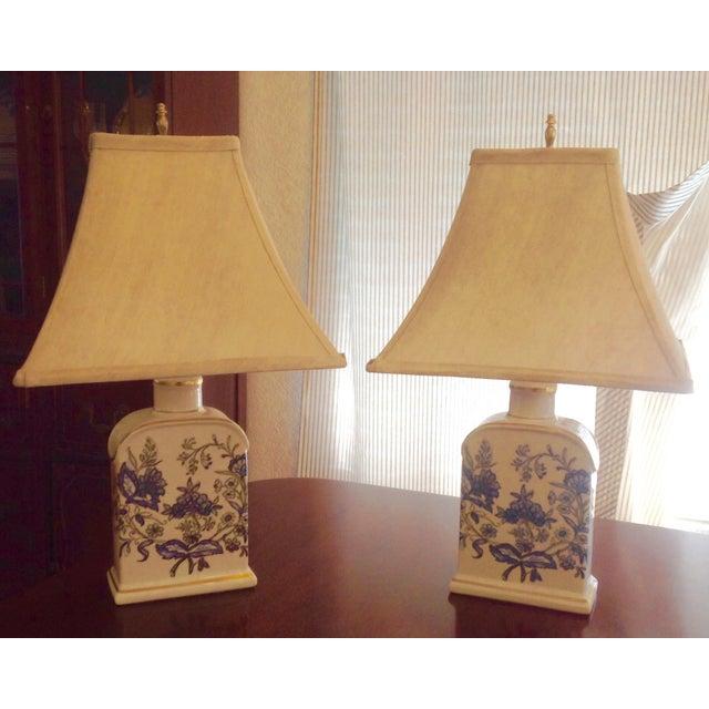 Vintage Floral Porcelain Tea Jar Lamps - A Pair - Image 2 of 3
