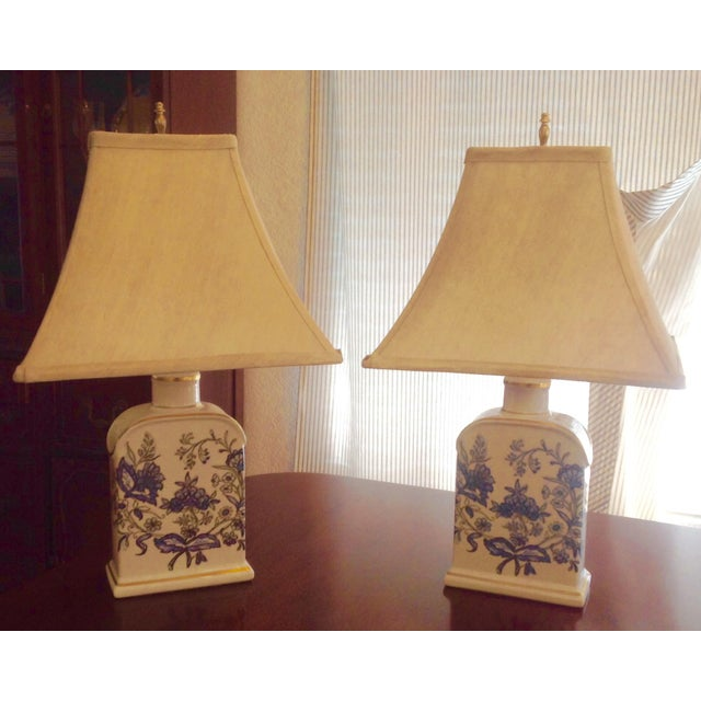 Image of Vintage Floral Porcelain Tea Jar Lamps - A Pair
