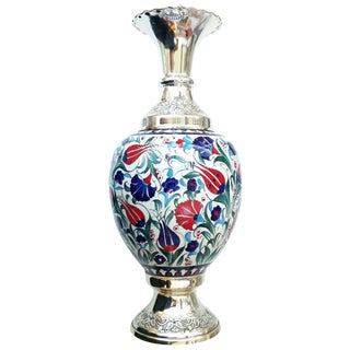 Silver Plated & Ceramic Turkish Vase