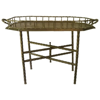 Vintage Brass Bamboo Tray Table