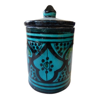 Moroccan Turquoise Ceramic Tea Canister