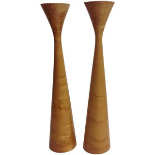Danish Modern Burl Candlesticks - A Pair