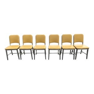 Emeco Butter Yellow Upholstered 1944 Navy Chairs- Set of 6