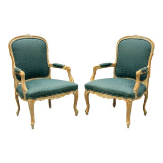 Country French Louis XV Style Living Room Arm Chairs - A Pair