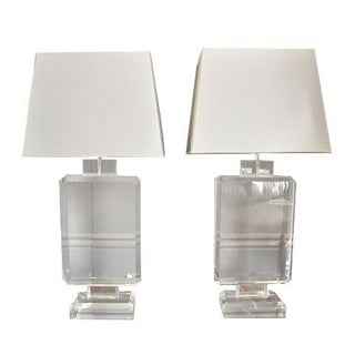 Aero Studios Rectangular Lucite Lamps - A Pair