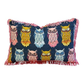 "18"" x 12"" Custom Tailored Colorful Hooting Owls Feather/Down Pillow w/ Fringe"