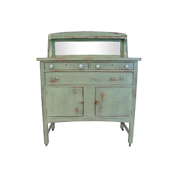 Distressed Green Mirror Hutch - Image 1 of 6