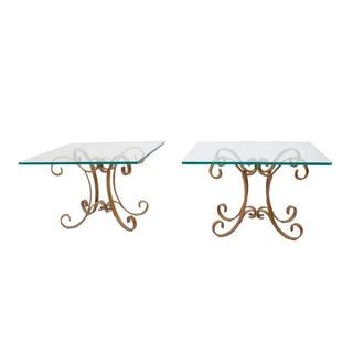 Regency Glass Top Side Accent Tables - A Pair