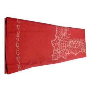 Circa 1950s Cross-Stitch Linen Tablecloth