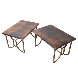 Aldo Tura Lacquered Goatskin Side Tables - A Pair