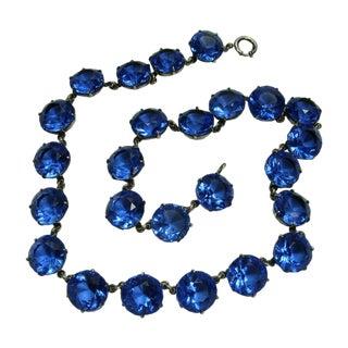 1930s Blue Crystal Bezel Sterling Silver Necklace