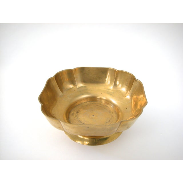 Brass Scallop Pedestal Bowl - Image 4 of 8