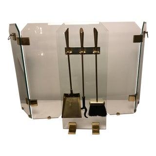 Mid-Century Modern Glass & Brass Firescreen & Tools
