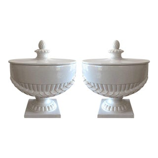Neoclassical White Ceramic Lidded Urns - A Pair