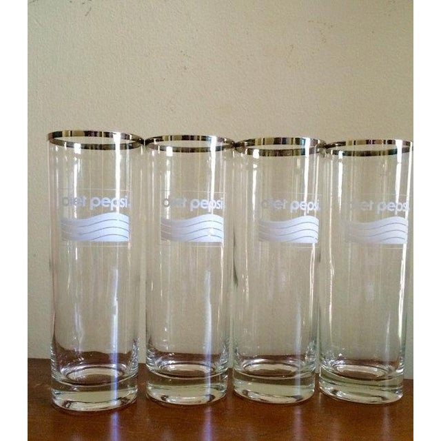 Image of Silver Rimmed Diet Pepsi Glassware - Set of 4