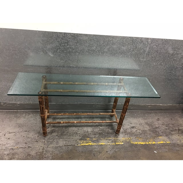 McGuire Bamboo & Glass Console Table - Image 4 of 9