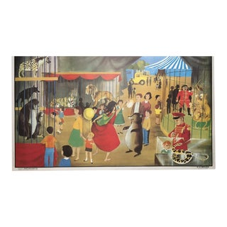"Vintage French School ""La Menagerie/Le Stade"" Two-Sided Poster"