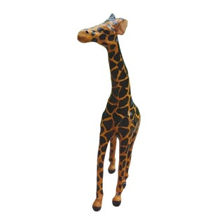 Handmade Paper Mache & Leather Giraffe Sculpture