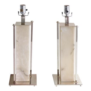Mid-Century Modern Alabaster & Nickel Table Lamps - A Pair