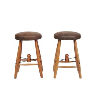 Mid-Century Oak and Leather Stools - A Pair