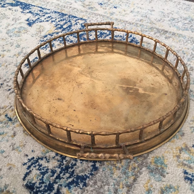 Brass Faux Bamboo Chinoiserie Tray - Image 7 of 9