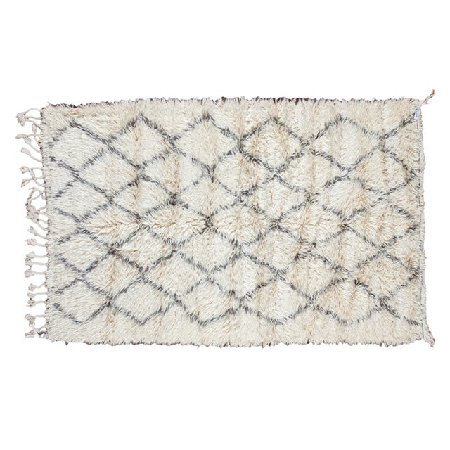"Vintage Beni Ourain Moroccan Carpet - 5' X 7'8"" - Image 1 of 4"