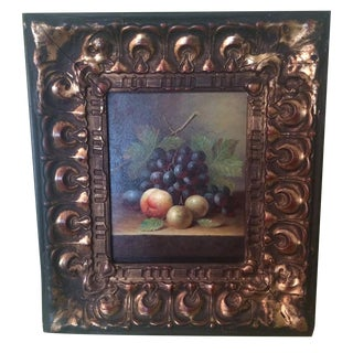 Original Still Life Oil Painting in Wood Frame