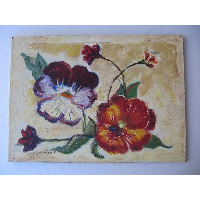 Vivid Vintage Flower Paintings- A Pair - Image 8 of 8