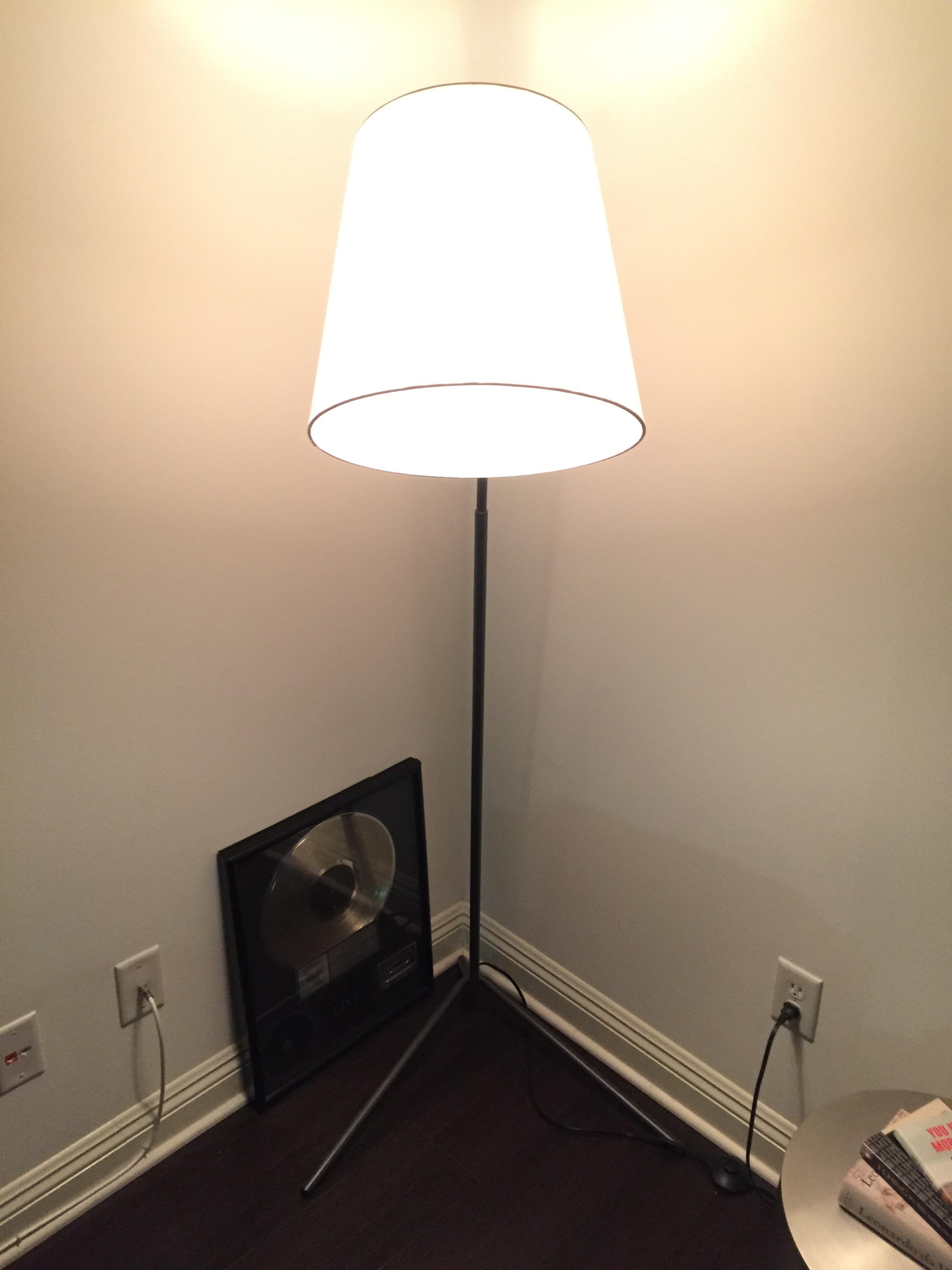 crate & barrel angle pewter floor lamp | chairish
