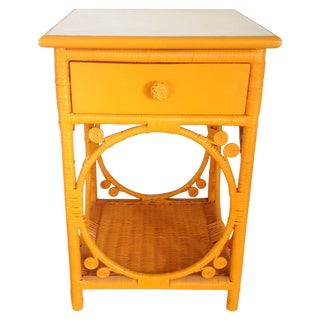 Tangerine Wicker Nightstand