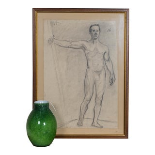 Antique French Academy Life Drawing Signed by Artist circa 1880