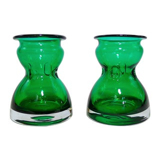 Vintage Emerald Green Vases - A Pair