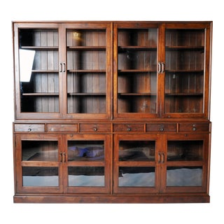 British Colonial Breakfront Bookcase with Six Drawers