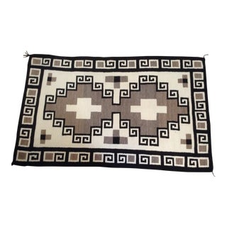 1950s Vintage Navajo Two Grey Hills Rug - 3′8″ × 6′