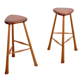 Pair of Signed Robert Kopf Studio Bar Stools, USA, 1985